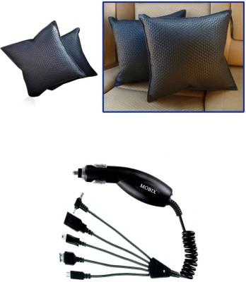 Auto Pearl 1Pcs Black Car Cushion Pillow, 1Pcs Mobix Car Charger Combo
