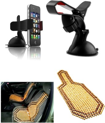 Auto Pearl 1Pcs Car Moblie Stand, 1Pcs Wooden Bead Seat Cover Combo