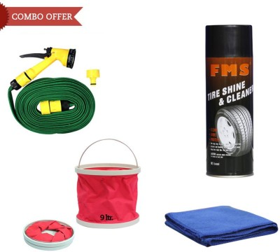 FMS 1 FMS Auto Tyre Shine, 1 Cleaner 600ml, 1 Water Gun, 1 Microfiber Cloth, 1 Foldable Bucket Combo