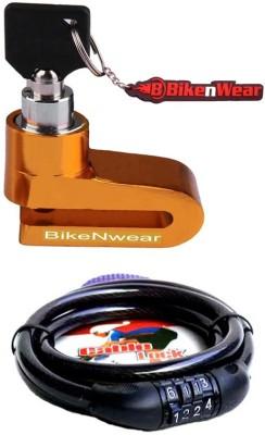 BikeNwear 1 Disc Brake Lock-Golden, 1 Cable Numberic Lock-Black Combo