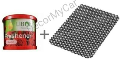 DecorMyCar 1 Rose Liboni Air Freshener, 1 Non Slip Mat Combo