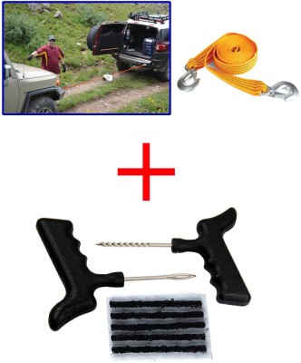 Auto Pearl 1Pcs 3 Ton 2.65Mtr Nylon Towing Cable, 1Pcs Tubeless Tyre / Tire Puncture Kit Combo