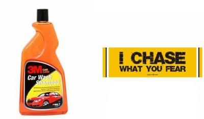 3M 1 Car Bumper Sticker-I Chase What You Fear, 1 Premium Shampoo 500ml Combo