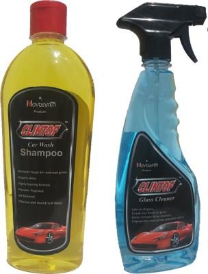 clintof 1 Car Wash Shampoo, 1 Car Glass Cleaner Combo