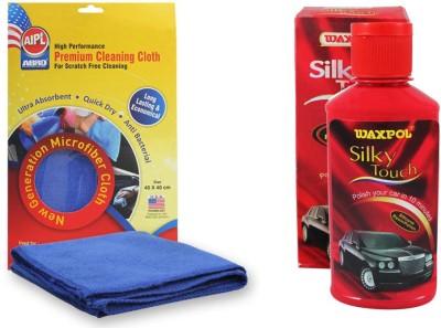 Abro 1 Waxpol Silky Touch Silicone Resin Polish Shiner 150ml, 1 Abro Microfiber Cloth Combo
