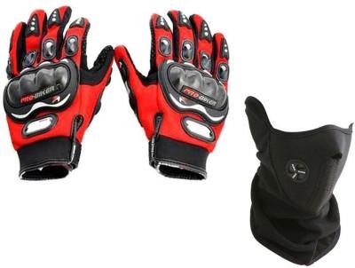 Pro Biker 1 Bike Gloves, 1 Neoprene Half Cover Face Mask - Black Combo