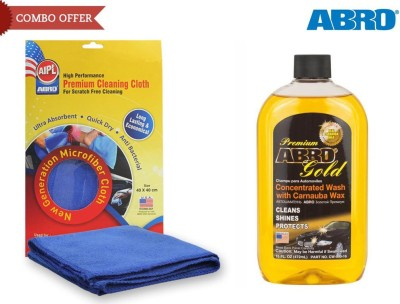 Abro 1 Car Wash n Glow, 1 Microfiber Cloth Combo