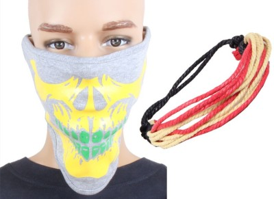 Sushito Yellow Printed Grey Face Mask Combo Wrist Band Combo