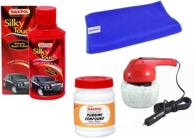 Waxpol 1 Car Polisher, 1 Waxpol Resin Polish, 1 Waxpol Rubbing Compound, 1 Cleaning Cloth Combo