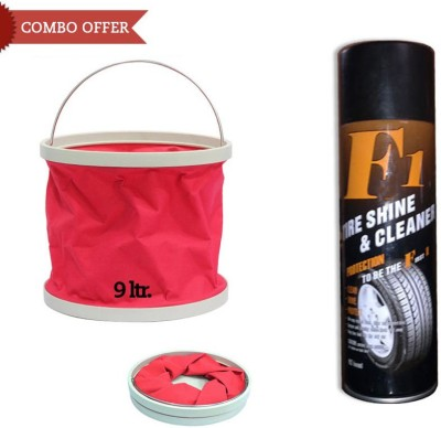 F1 1 F1 Auto Tyre Shine and Cleaner-650ml, 1 Foldable Water Bucket Combo