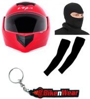BikeNwear 1 Vega Crux Full Face Helmet-Red-(Size-M-58 Cms), 1 Face Mask-Black, 1 Arm Sleeves-Black, 1 Keyring Combo