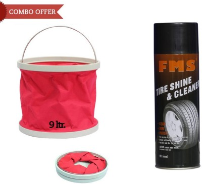 FMS 1 FMS Auto Tyre Shine and Cleaner-600ml, 1 Foldable Water Bucket Combo
