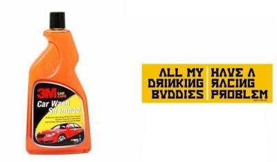 3M 1 Car Bumper Sticker-Drinking Buddies, 1 Premium Shampoo 500ml Combo