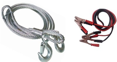 Nimarketing 1 Pc Steel Towing Cable Silver,1 Pc 500 Amp Heavy Duty Jumper Booster Cables Combo