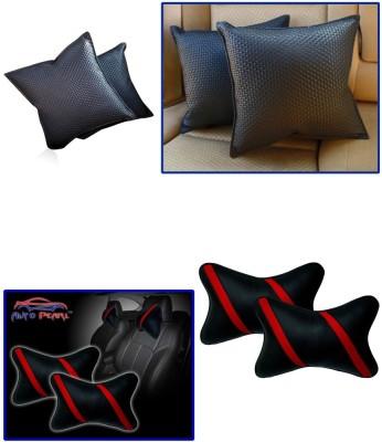 Auto Pearl 1Pcs Black Car Cushion Pillow, 1Pcs Strip Red Car Neck Rest Combo