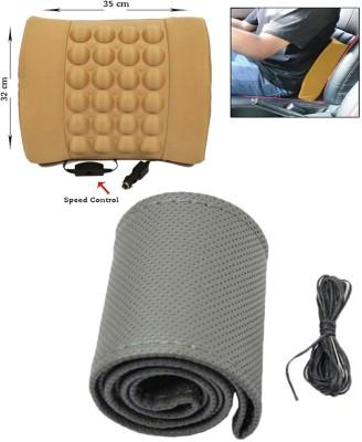 Allure Auto 1 PCS Car Steering Cover, 1 pcs Car Seat Vibrating Massage Cushion Combo