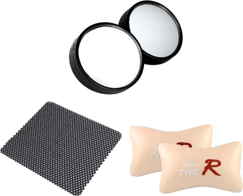 AutoKraftZ Car Blind Spot Mirror, Aux Cable, Non Slip Mat Combo