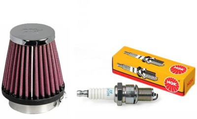 K&N 1 Bike Spark Plug, 1 Air Filter-Yamaha RX100 Combo