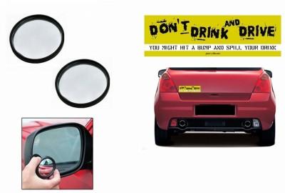Speedwav 1 Combo Of Car Bumper Sticker-STOP DRINK N DRIVE, 1 Blind Spot Mirror-Black Combo
