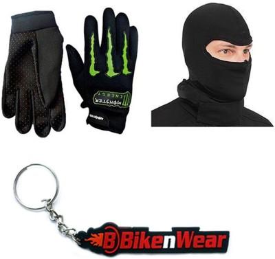 BikeNwear 1 Monster Gloves-Black Green, 1 Face Mask-Black, 1 Bikenwear Keyring Combo