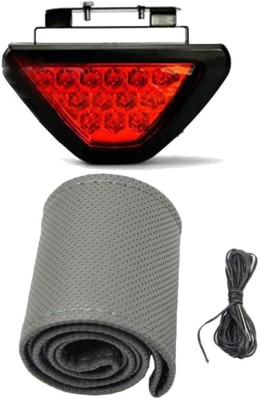 Allure Auto 1 Car Steering Cover, Red 12 LED Brake Light with Flasher For Mahindra Thar Combo