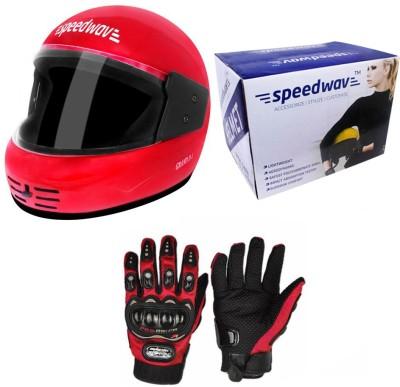 Speedwav 1 Full Face Bike Riding Helmet-Red, 1 Pro-Biker Riding Gloves-Red Combo