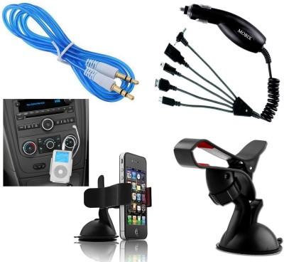 Auto Pearl 1Pcs 3.5mm Aux Cable, 1Pcs Moblie Stand, 1Pcs Mobix Car Charger Combo
