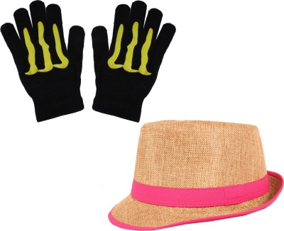 Sushito Golden Jute Fidora Hat With Hand Gloves Combo