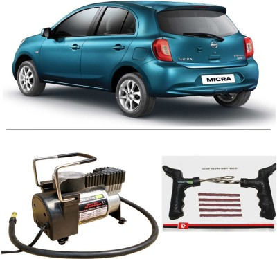 CreativeVia AutoCut-OFF Premium Metal Air Compressor With Tyre Punture Repair Kit For Nissan Micra Combo