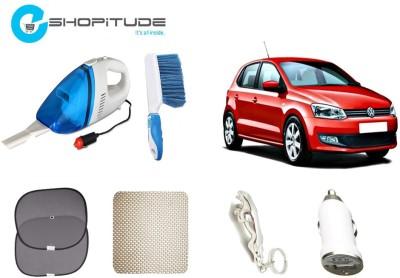 Eshopitude Car Vaccum Cleaner, Car Sunshade set of 2, Car Dasboard Mat, Plastic Brush, Car USB Charger, Jaguar Key Chain Combo