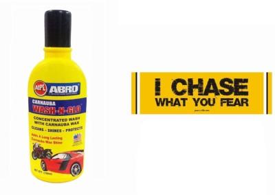 Abro 1 Car Bumper Sticker-I Chase, 1 Wash-N-Glow Shampoo (100 Ml) Combo