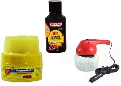 Coido 1 Car Polisher, 1 Abro Super Gold Wax Polish, 1 Waxpol 2K Rubbing Compound Combo