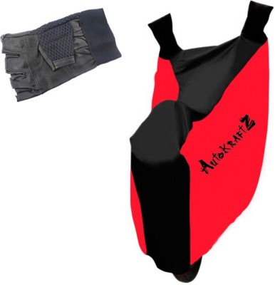 AutoKraftZ Premium Bike Body Cover Red & Black::Half Cut Leather Gloves For Bajaj Avenger 150 Street Combo