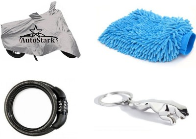 AutoStark Bike Body Cover Silver+ Helmet lock+ Microfiber Cleaning Gloves + Jaguar Shaped Keychain For Yamaha Ray Z Combo