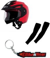 BikeNwear 1 Vega Crux Open Face Helmet-Red-(Size-M-58 Cms), 1 Pair Arm Sleeves-Black, 1 Keyring Combo