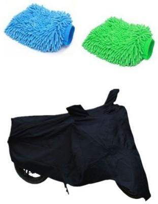 Retina 1x Universal Honda Activa Black Bike Cover, 2x Microfiber Vehicle Washing Hand Gloves Combo