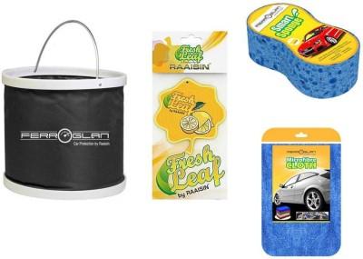 Raaisin 1 Foldable Bucket, 1 Smart Sponge, 1 Microfibre Cloth, 1 Hanging Air Freshener Combo