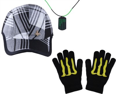 Sushito Neon Rock Chex Cap With Men Necklace & Hand Gloves Combo