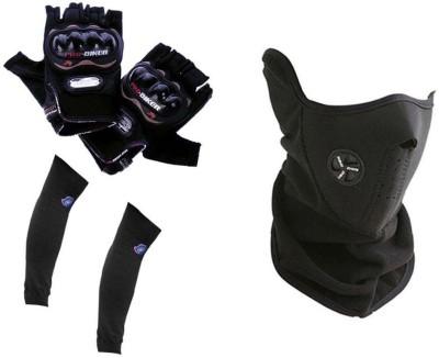 Pro Biker 1 Bike Gloves, 1 Neoprene Half Face Mask-Black, 1 Arm Sleeves Combo