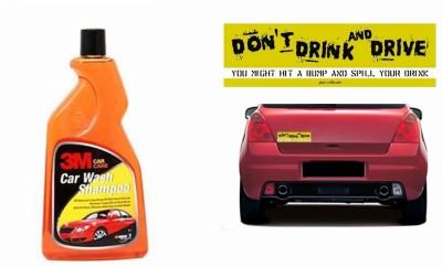 3M 1 Combo Of Car Bumper Sticker-STOP DRINK N DRIVE, 1 3M Premium Shampoo 500ml Combo
