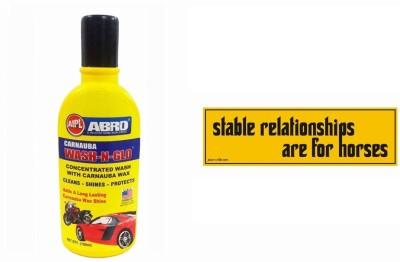 Abro 1 Car Bumper Sticker-Stable Relationships, 1 Shampoo (100ml) Combo