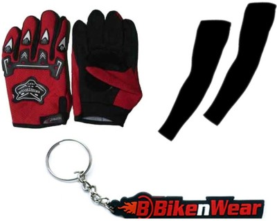 BikeNwear 1 Knighthood Gloves-Red, 1 Arm Sleeves-Black, 1 Bikenwear Keyring Combo
