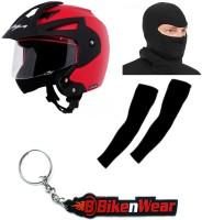BikeNwear 1 Vega Crux Open Face Helmet-Red-(Size-M-58 Cms), 1 Face Mask-Black, 1 Arm Sleeves-Black, 1 Keyring Combo