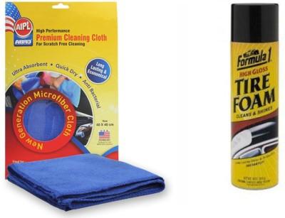 Abro 1 Formula 1 Foam Car/Bike Foam Rubber / Tyre Shiner, 1 Abro Microfiber Cloth Combo