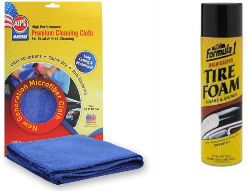 Abro 1 Formula 1 Foam Car/Bike Foam Rubber / Tyre Shiner, 1 Abro Microfiber Cloth Combo