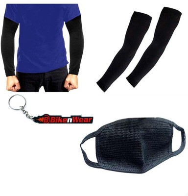 BikeNwear 1 Arm Sleeve-Black. 1 Pollution Mask-Black, 1 Bikenwear Keyring Combo