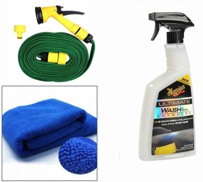 Meguiar's 1 Meguiars Wash & Wax anywhere Trigger-828ml, 1 Microfiber Cloth, 1 Spray Gun, 1 Spray Gun Combo
