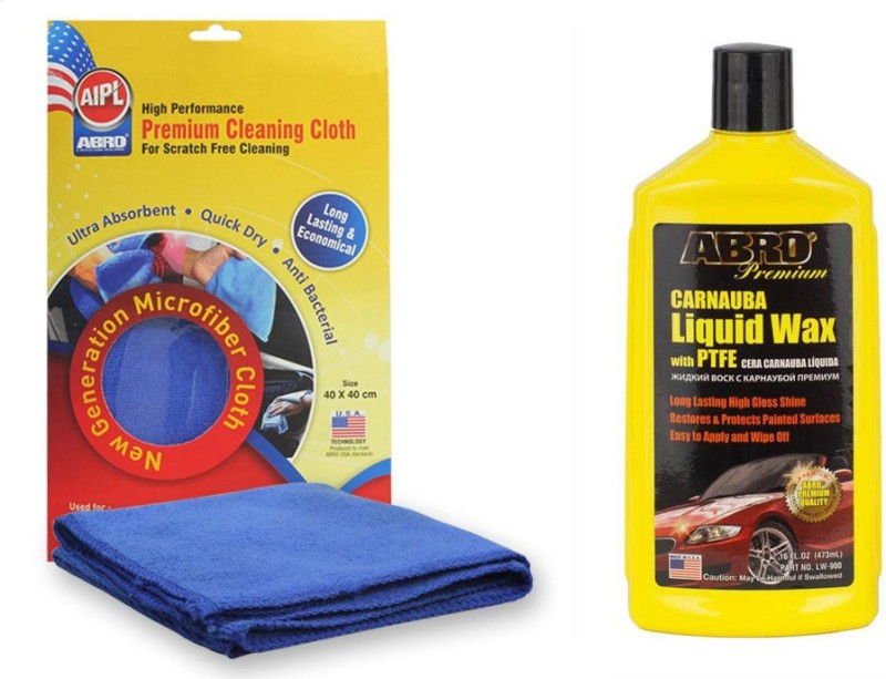 Abro 1 Car Wax- Liquid LW-900 (473 ml), 1 Microfiber Cloth Combo