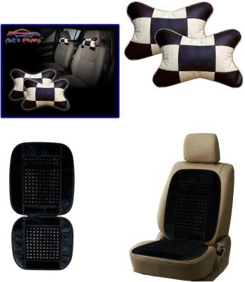 Auto Pearl 1Pcs Neck Rest Beige & Cola, 1Pcs Bead Seat Cushion with Black Velvet Border Combo