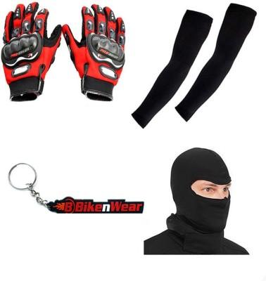 BikeNwear 1 Pair Probiker Gloves-Red-XL, 1 Pair Arm Sleeves-Black, 1 Face Mask-Black,1 Keyring Combo